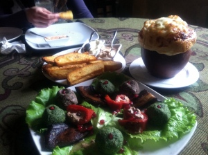 Fusion Lunch in a Tbilisi Cafe, featuring Mexican Potatoes (photo credit: Dad)