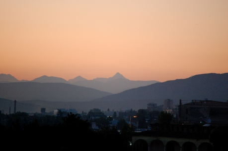 Focus on the Greater Caucasus, from our apartment window