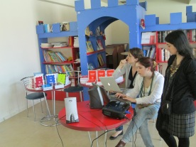 Radarami volunteers and books at the book launch in Akhaltsikhe