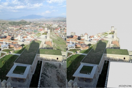 Rabati Castle complex from the tour--in the image on the right, I've blacked out the non-castle portions so you can see just how big it is (keep in mind there's a bit of castle behind me, as well as off frame on the left edge)
